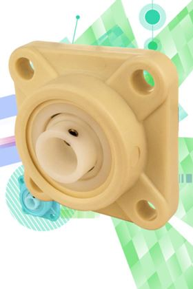 Quality Bearings & Component's new line of plastic four-bolt flange mounting blocks.