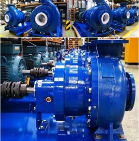 PFA-lined magnetic drive chemical process pumps at CP Pumpen's headquarters in Zofingen, Switzerland.
