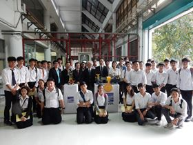 Thammasat University students with the pumps Ebara has donated.