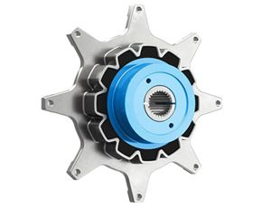 The metal-elastomer combination gives Reich's RCT coupling drives high torsional stiffness, as well as dampening shocks and peak torques.
