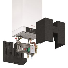 Viessmann boiler pump connection set with built-in low loss header.