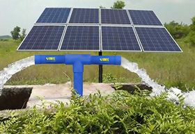 Solar-powered pumps at a borewell.