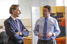 Lord Green (left), the UK Minister of State for Trade and Investment, and Ewan Lloyd-Baker (right), CEO of Hayward Tyler, at the official opening of the pump and motor company's Luton site.