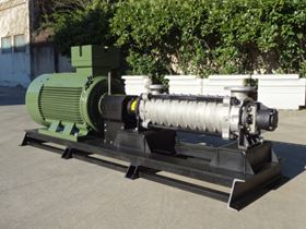 SAER horizontal high pressure multistage pump TMBXZ2P50-80-9, recently supplied to a water works.