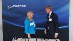 Maria Laine (left), vice president, Northern Europe, Boeing International and Poul Due Jensen (right), Grundfos Group Executive Vice President Sales, Marketing and Service.
