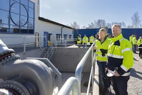 Pictured are Marie-Louise Lennartsson, Order Specialist at Great & Grey, with Benny Moline, Production Engineer at Xylem Emmaboda, at the new dry test pit for large capacity pumps at Xylem's global manufacturing plant in Emmaboda, Sweden.