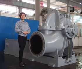 One of the new model double suction centrifugal pumps at Ebara Machinery Zibo's factory in Zibo City, Shandong Province, China, before shipping.