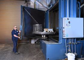 One of Timken's major investments is a large industrial parts washer that can hold gearboxes and components up to 7,000 lbs.