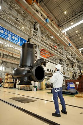 The pump at Ebara's Futtsu factory in Japan before shipment to Vietnam.