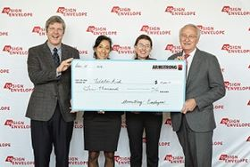 Left to right, Lex van der Weerd, CEO of Armstrong Fluid Technology; Nefertiti Saleh, corporate partnership manager, WaterAid Canada; Nicole Hurtubise, president of WaterAid Canada; and Charles Armstrong, chairman of Armstrong Fluid Technology.