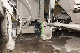 In order to keep the calcium carbonate from sticking to the bottom, a Verderflex Dura 45 hose pump is used to keep the fluid stream moving.