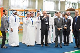 Opening ceremony guests undertake a factory tour of Ebara's new facility in Dammam.