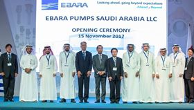The opening ceremony for Ebara's new workshop in Saudi Arabia.