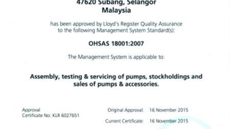 Ebara Pumps Malaysia awarded OHSAS 18001 certification