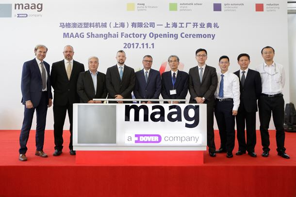 The opening ceremony at Maag Shanghai, China was attended by Ueli Thuerig, president of Maag and Paul Merich, vice president and general manager of Maag in Greater China.